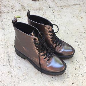 Shiny combat boots
